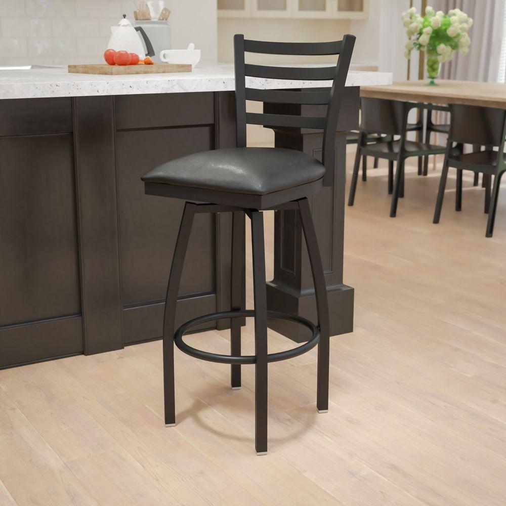 Flash Furniture Metal Ladder Back Swivel Stool The Home Depot Canada