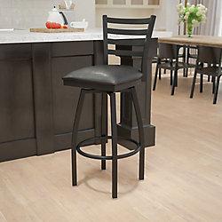 Flash Furniture Tabouret pivotant en métal avec dossier à traverses horizontales