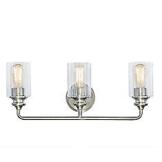 3-Light Brushed Nickel Vanity with Glass Shades