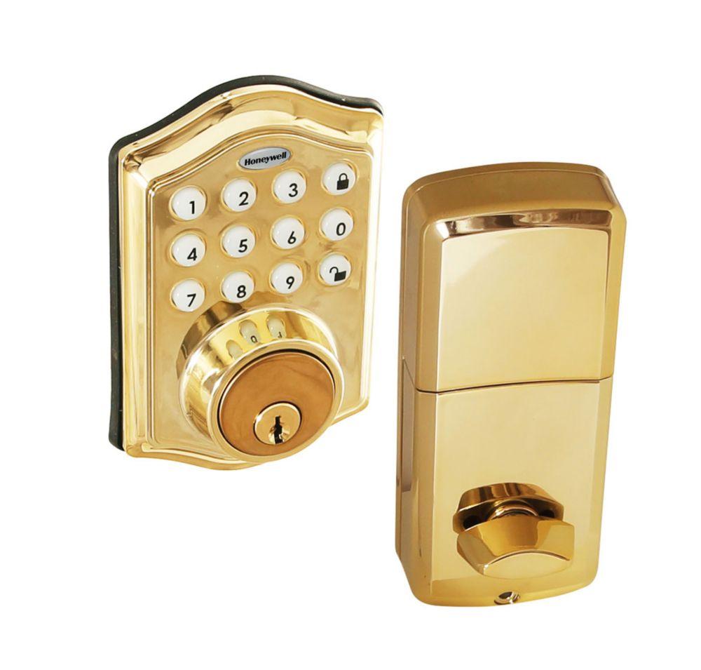 Honeywell Polished Brass Keyless Entry Digital Deadbolt