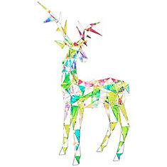sparkle led lit modern angular iridescent buck christmas decoration