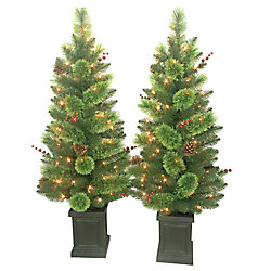 Home Accents Holiday 18-inch Dia Savannah Berry Porch Tree (Set of 2)