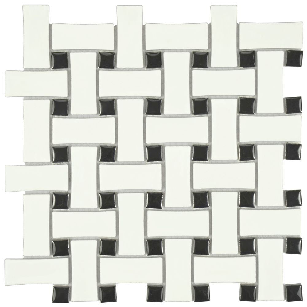 Merola Tile Metro Dog Bone Basket Weave Matte White/Black 10-1/2-inch x 10-1/2-inch x 5mm Porcelain Mosaic