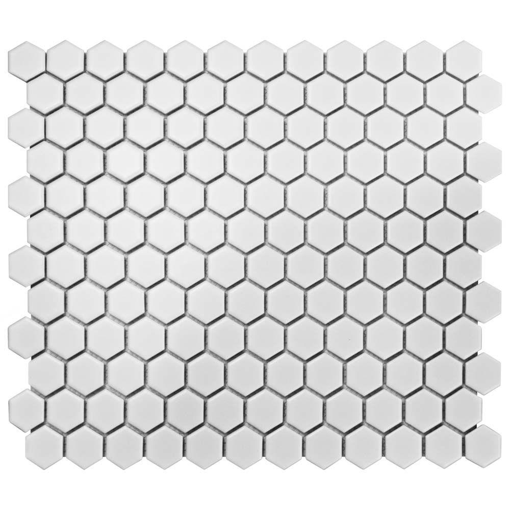 Metro Hex Matte White 10 1 4 Inch X 11 3 6 Mm Porcelain Mosaic Tile 8 56 Sq Ft Case