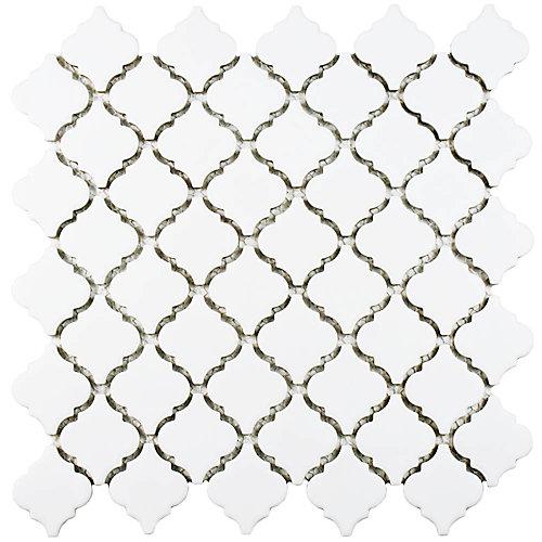 Hudson Tangier Matte White 12-3/8-inch x 12-1/2-inch x 5 mm Porcelain Mosaic Tile (10.96 sq.ft./case)