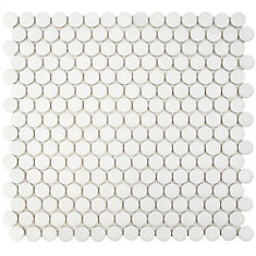 Hudson Penny Round Matte White 12-inch x 12-5/8-inch x 5 mm Porcelain Mosaic Tile (10.74 sq.ft./case)