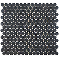 Hudson Penny Round Matte Black 12-inch x 12-5/8-inch x 5 mm Porcelain Mosaic Tile (10.74 sq.ft./case)