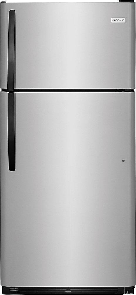 Réfrigérateur à congélateur supérieur en acier inoxydable, 18 pi3