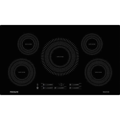 Table de cuisson à induction de 36 po avec 5 éléments en noir