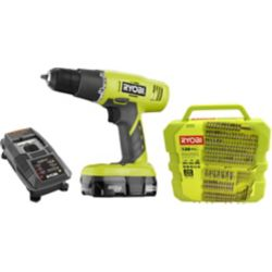 RYOBI 18V ONE+ Drill/Driver Kit with 1.3 Ah Battery and 130-Piece Bit Set