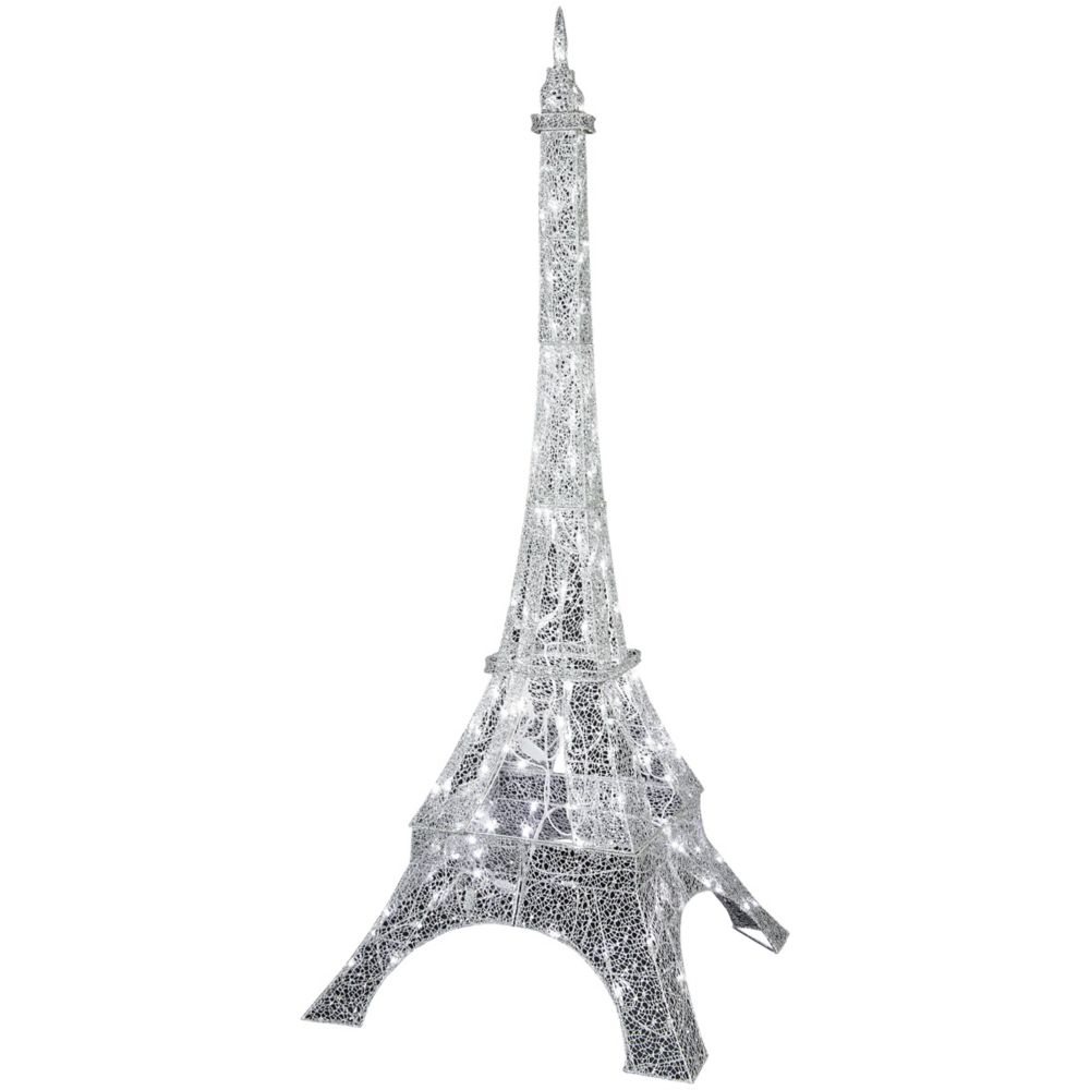 LED Crystal Swirl Silver Eiffel Tower Decoration