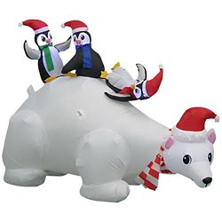 Home Accents Holiday 6 ft. Airblown Inflatable Polar Bear Family Scene Outdoor Decoration