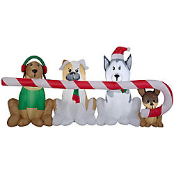 Home Accents Holiday Airblown Inflatable Puppies Candy Cane Scene
