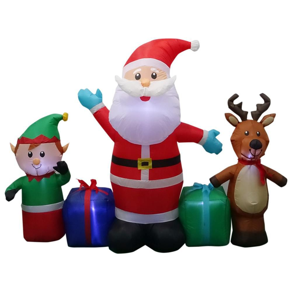 Home Accents Holiday Airblown Inflatable Santa Scene Outdoor Decoration
