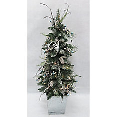 Snowtop Dazzle 4 ft. Warm White-Lit Artificial Potted Christmas Tree
