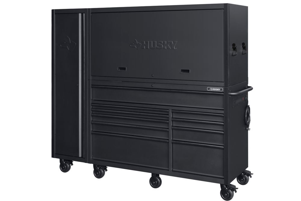 HUSKY 80 inch 10-Drawer Heavy Duty Garage Work Center and Side Locker Combo, Matte Black (3-Piece)