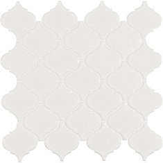 Retro Arabesque Bianco 9.94-inch x 10.83-inch x 6mm Porcelain Mesh-Mounted Mosaic Tile