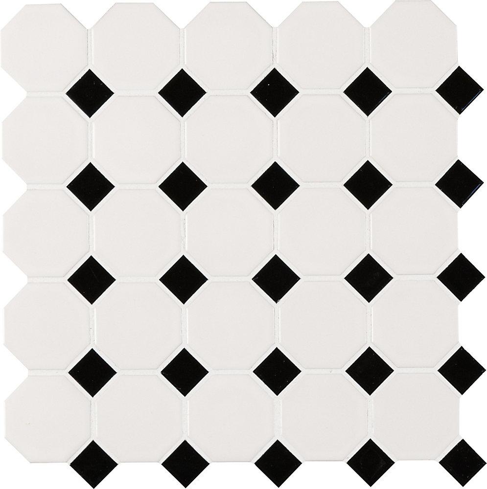Retro Octagon Bianco 11.61-inch x 11.61-inch x 6mm Porcelain Mesh-Mounted Mosaic Tile