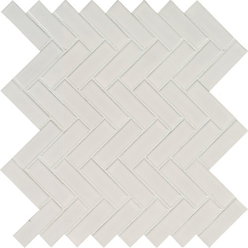 Retro Herringbone Bianco 10.83-inch x 12.2-inch x 6mm Porcelain Mesh-Mounted Mosaic Tile