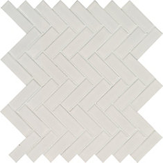 Retro Herringbone Bianco 10.83-inch x 12.2-inch x 6mm Porcelain Mesh-Mounted Mosaic Tile