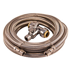 Installation Kit - Ice Maker 15ft braided stainless steel with push fit tee valve