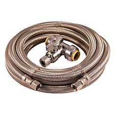 Trousse d'installation machine à glaçons 15 pi acier inox tressé avec valve té pousser-raccorder