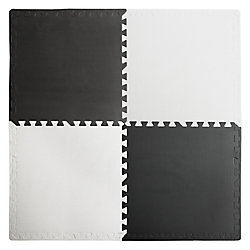 Connect-A-Mat Interlocking Anti-Fatigue Mat in Black/White with Borders (4-Pack)