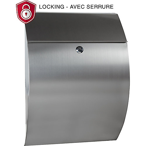 Contemporary Locking Mailbox, Stainless Steel