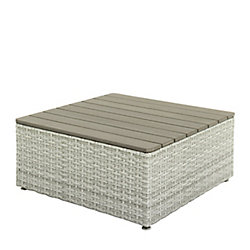 Corliving Brisbane Weather Resistant Resin Wicker Square Patio Coffee Table