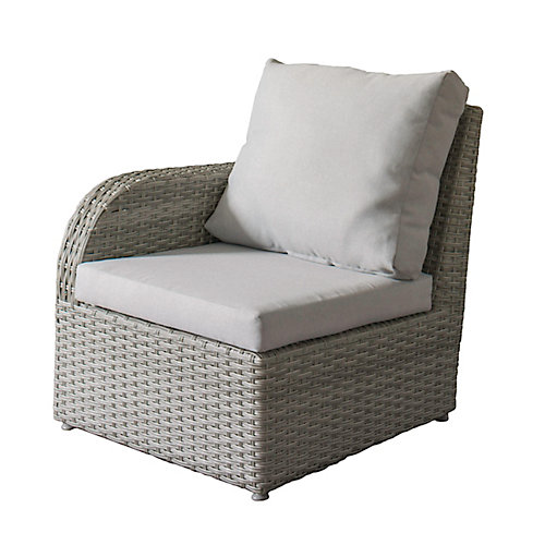 Brisbane Weather Resistant Resin Wicker Left Arm Patio Chair with Grey Cushions