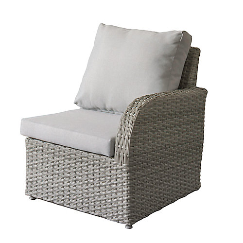 Brisbane Weather Resistant Resin Wicker Right Arm Patio Chair with Grey Cushions