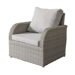 Corliving Brisbane Weather Resistant Resin Wicker Patio Chair with Grey Cushions