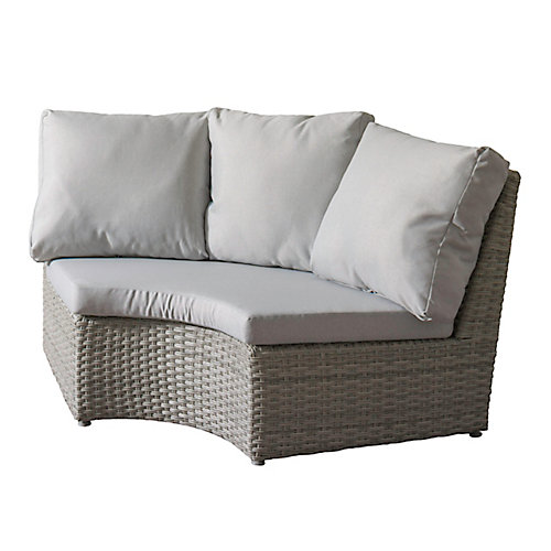 Brisbane Weather Resistant Resin Wicker Corner Patio Chair with Grey Cushions