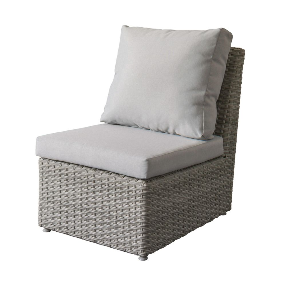 Corliving Brisbane Weather Resistant Resin Wicker Armless Patio Chair with Grey Cushions