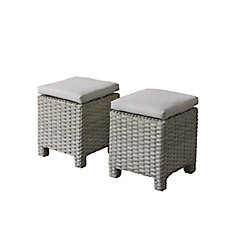 Brisbane Weather Resistant Resin Wicker Ottomans with Grey Cushions, (Set of 2)