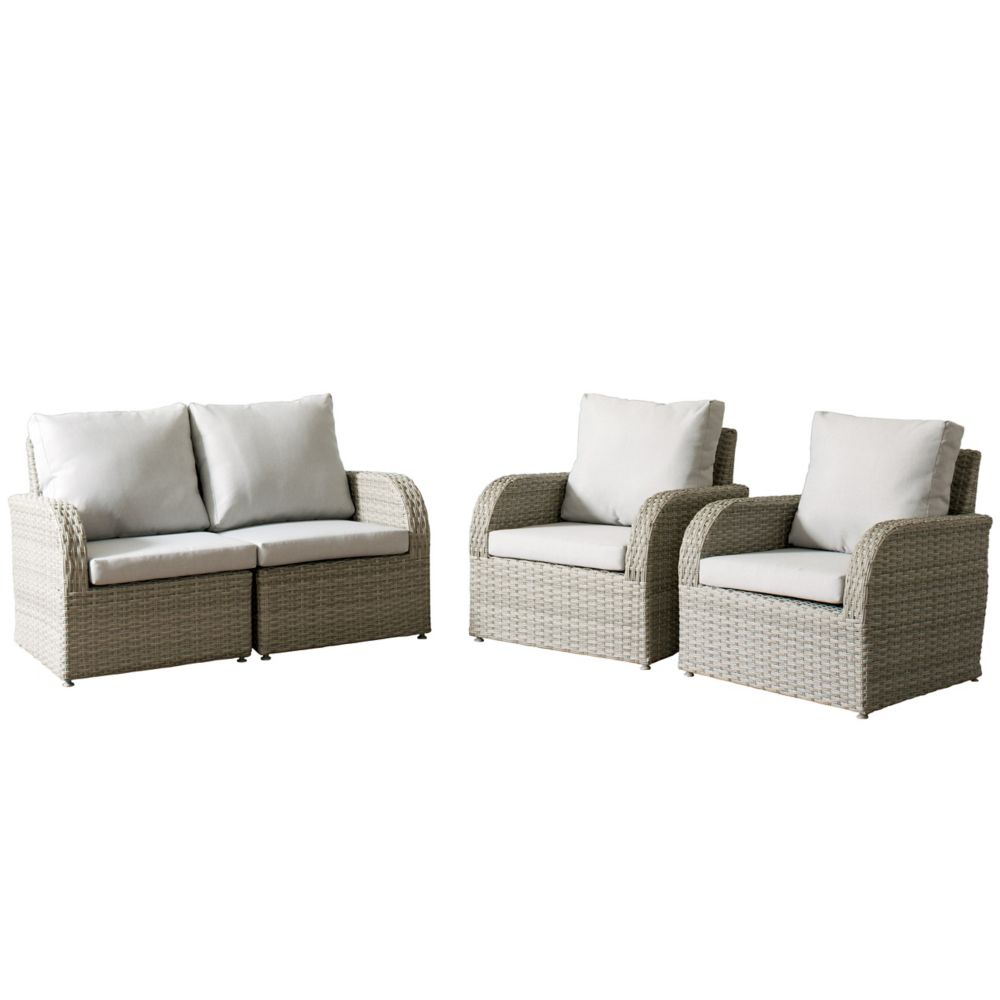 Corliving Brisbane Weather Resistant Resin Wicker 4-Piece Loveseat/Chair Patio Set with Grey Cushions