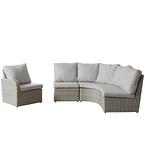 Brisbane Weather Resistant Resin Wicker 4-Piece Curved Sectional Patio Set with Grey Cushions