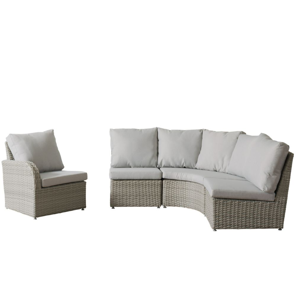 Corliving Brisbane Weather Resistant Resin Wicker 4-Piece Curved Sectional Patio Set with Grey Cushions