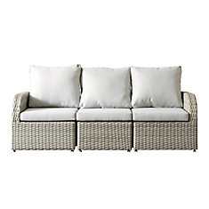 Brisbane Weather Resistant Resin Wicker 3-Piece Patio Set with Grey Cushions