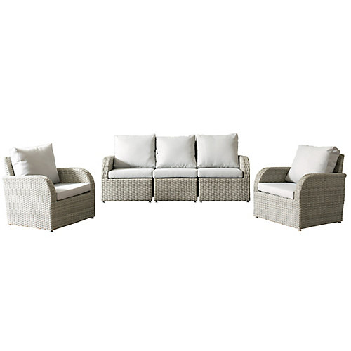 Brisbane Weather Resistant Resin Wicker 5-Piece Patio Set with Grey Cushions