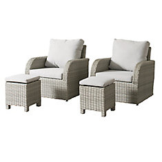 Brisbane Weather Resistant Resin Wicker 4-Piece Patio Set with Grey Cushions