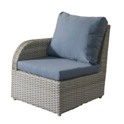 Corliving Brisbane Weather Resistant Resin Wicker Left Arm Patio Chair with Blue Cushions