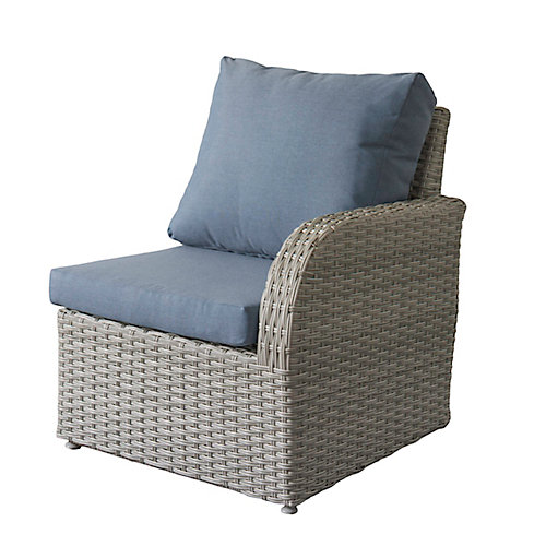 Brisbane Weather Resistant Resin Wicker Right Arm Patio Chair with Blue Cushions
