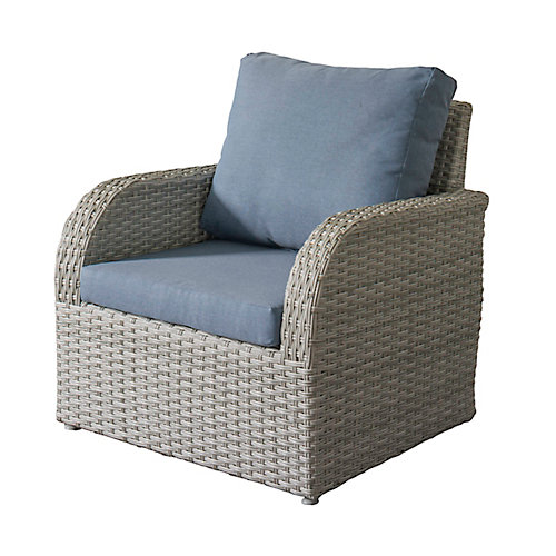Brisbane Weather Resistant Resin Wicker Patio Chair with Blue Cushions