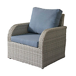 Corliving Brisbane Weather Resistant Resin Wicker Patio Chair with Blue Cushions