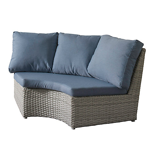 Brisbane Weather Resistant Resin Wicker Corner Patio Chair with Blue Cushions