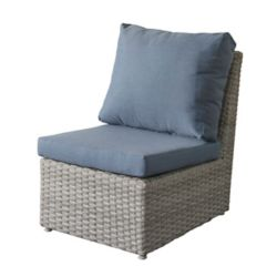 Corliving Brisbane Weather Resistant Resin Wicker Armless Patio Chair with Blue Cushions