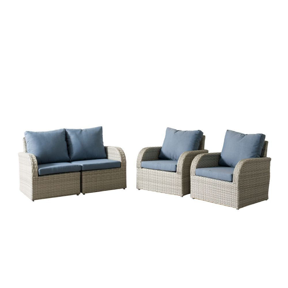 Corliving Brisbane Weather Resistant Resin Wicker 4-Piece Loveseat/Chair Patio Set with Blue Cushions