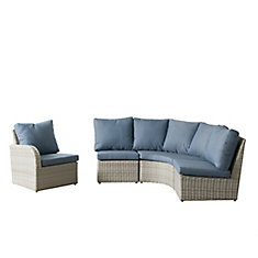 Brisbane Weather Resistant Resin Wicker 4-Piece Curved Sectional Patio Set with Blue Cushions