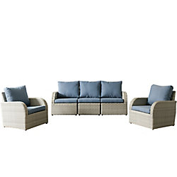 Corliving Brisbane Weather Resistant Resin Wicker 5-Piece Patio Set with Blue Cushions